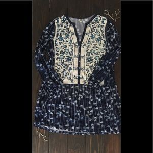 Tunic top with floral embroidery